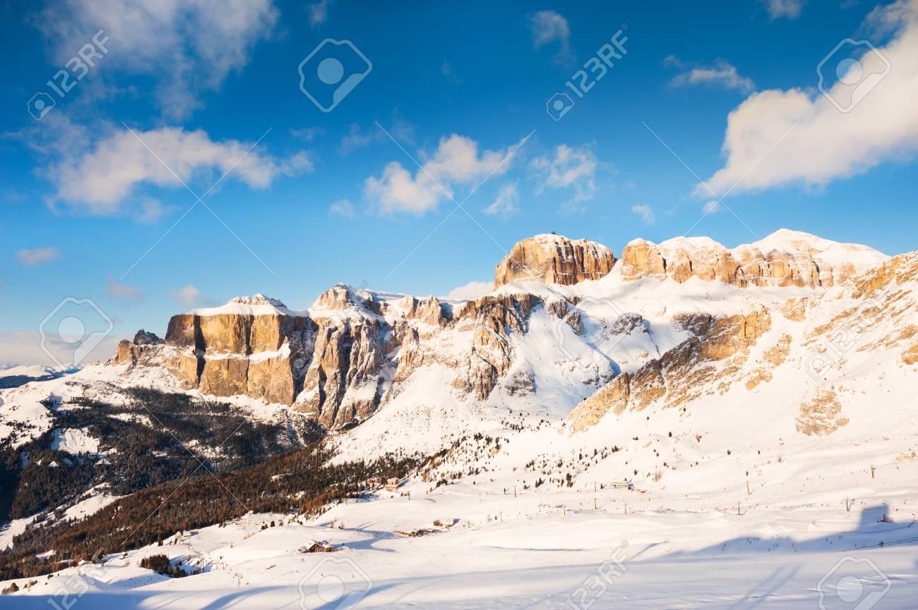 ski slope in val di fassa ski resort, winter dolomite alps, italy