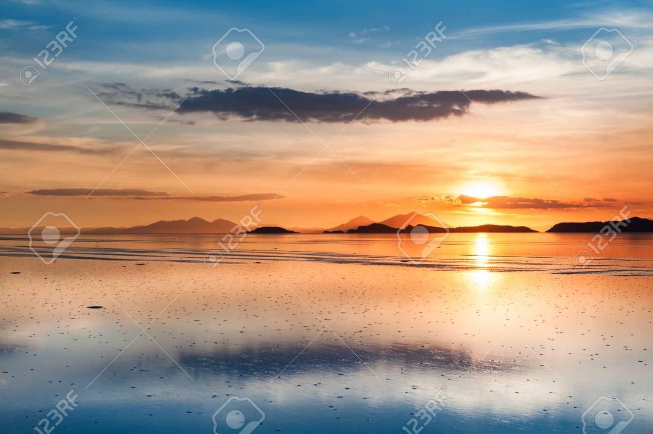 Mirror Surface On The Salt Flat Salar De Uyuni At Sunset Altiplano