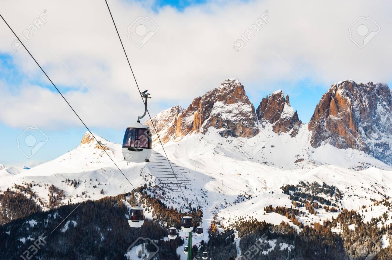 ski lift in val di fassa ski resort in winter dolomites, italy stock