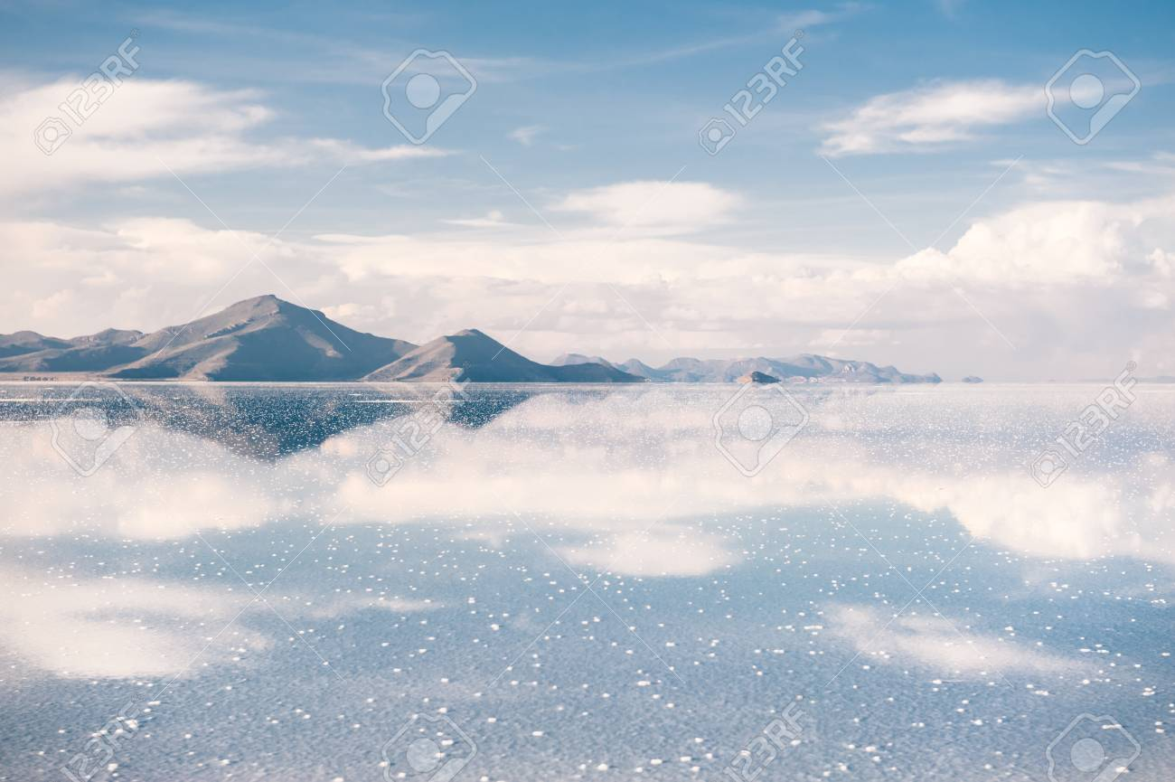 Mirror Surface On The Salt Flat Salar De Uyuni Altiplano Bolivia