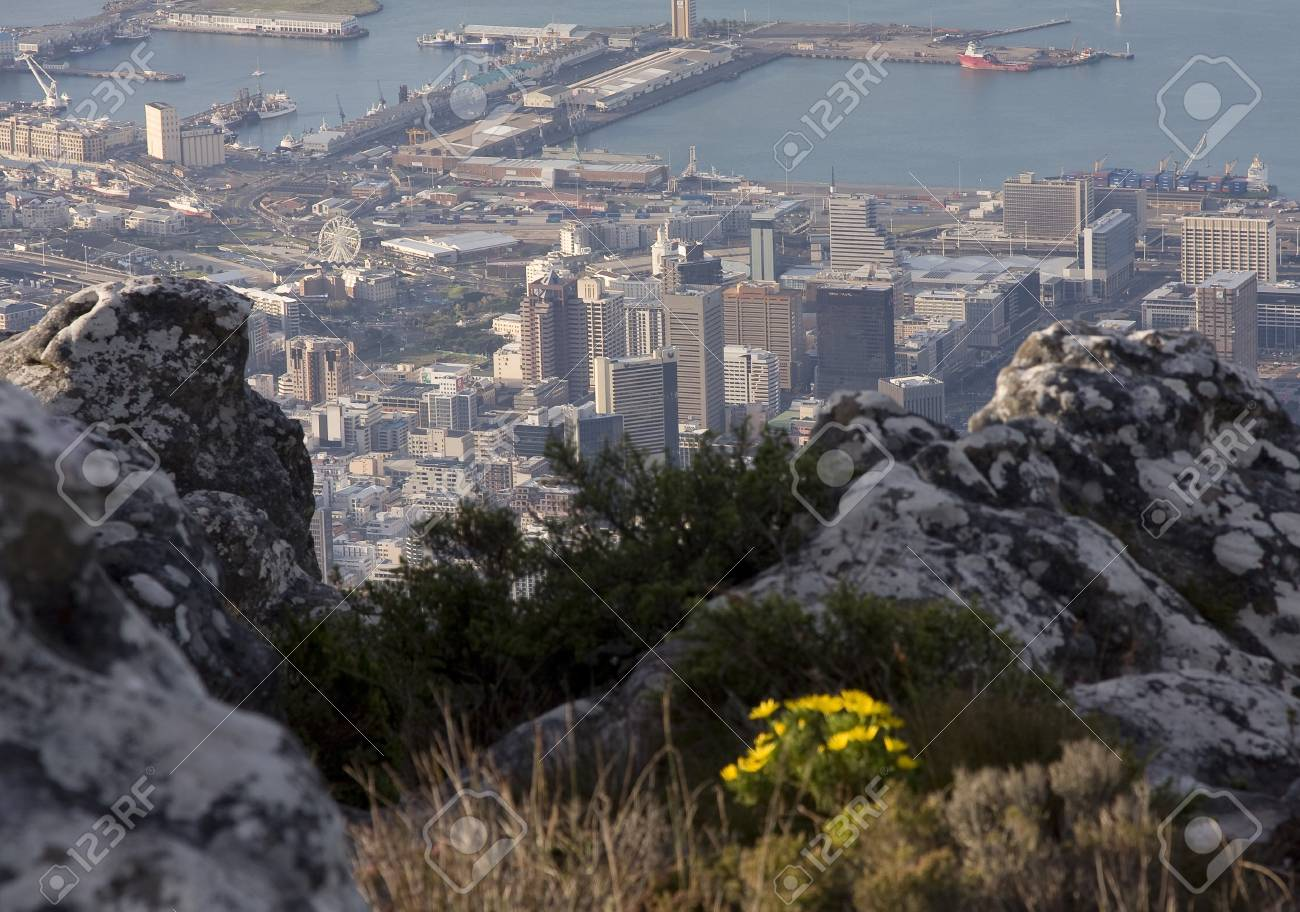 Aerial view of Cape Town from Table Mountain Stock Photo - 13686802