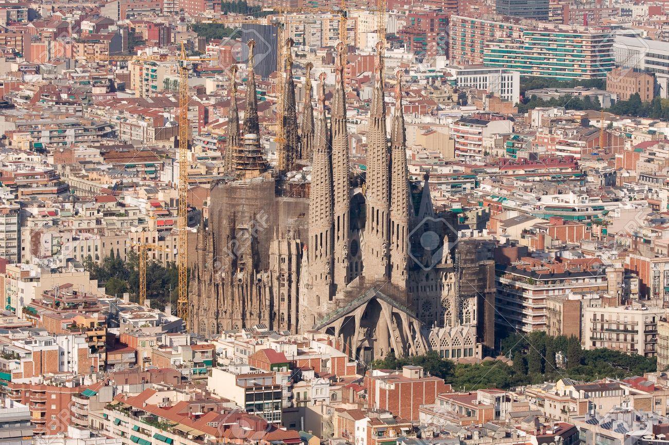 Aerial view of Sagrada Familia, Barcelona. Stock Photo - 12131041