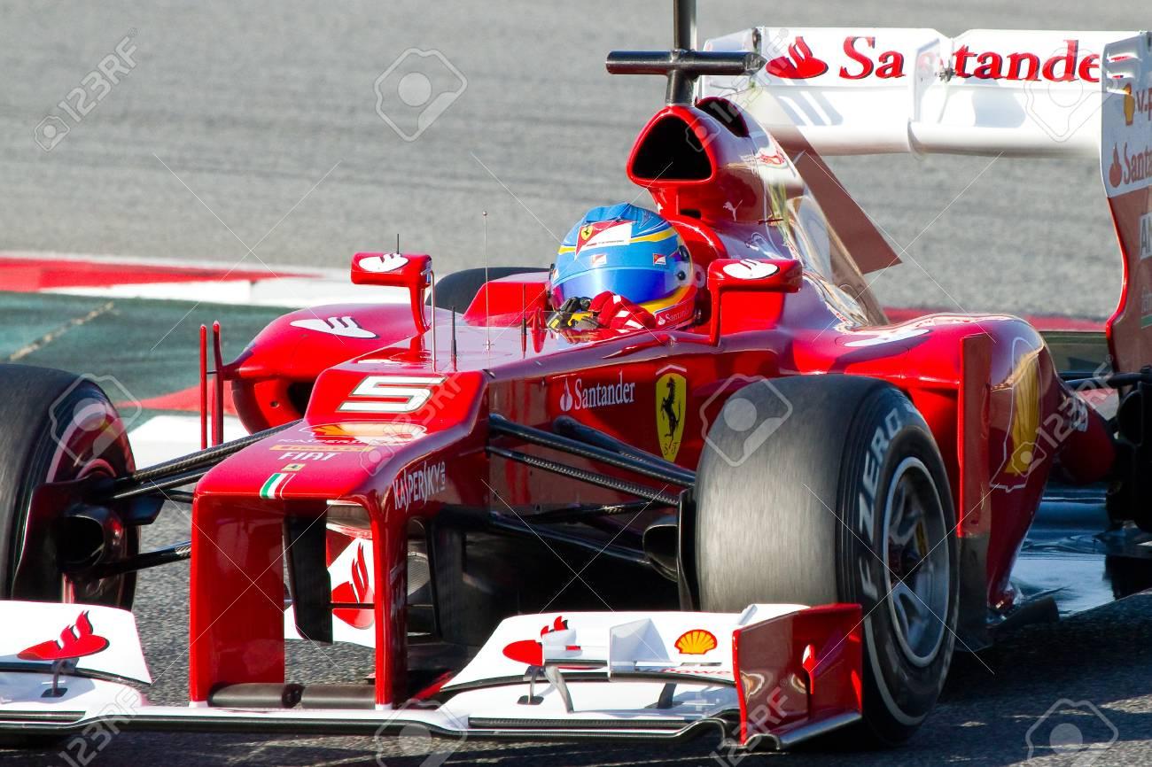 Barcelona 21 Februar 2012 Fernando Alonso Von Ferrari F1 Team Rennen Während Der Formel Eins Teams Testfahrten In Catalunya Circuity Barcelona Spanien Lizenzfreie Fotos Bilder Und Stock Fotografie Image 12299593