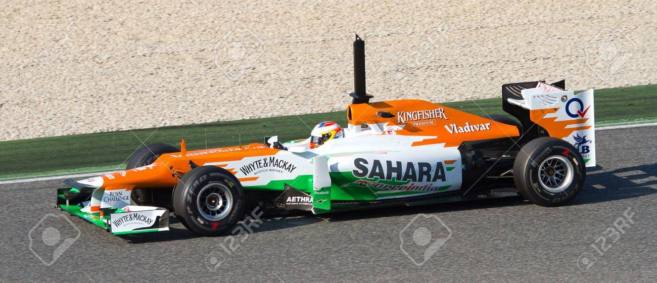 BARCELONA - FEBRUARY 24  Paul Di Resta of Force India F1 team racing at Formula One Teams Test Days at Catalunya circuit on February 24, 2012 in Barcelona, Spain Stock Photo - 15927409
