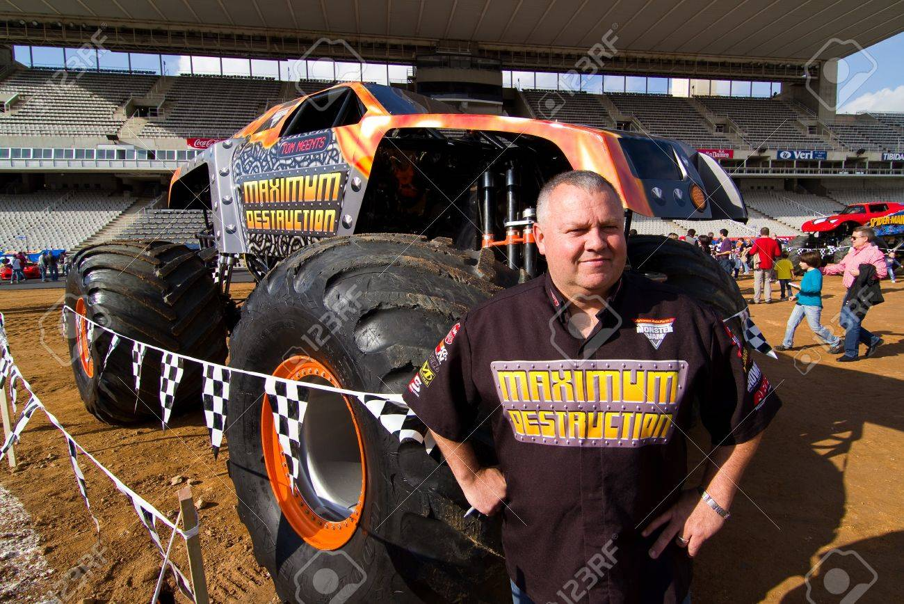 Barcelona november 12 tom meents driver of maximum destruction monster truck poses