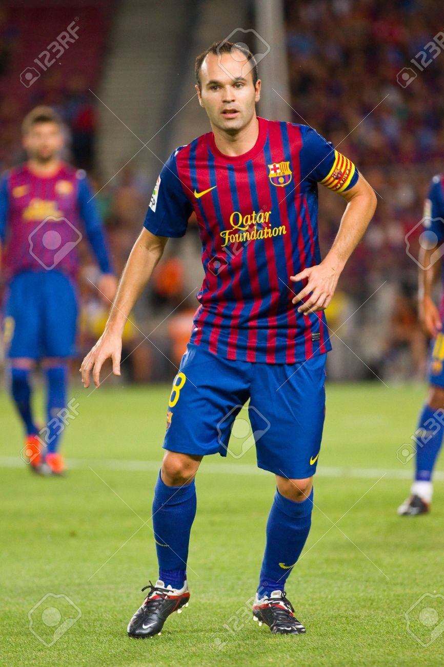 Andres Iniesta In Action During The Gamper Trophy Final Match