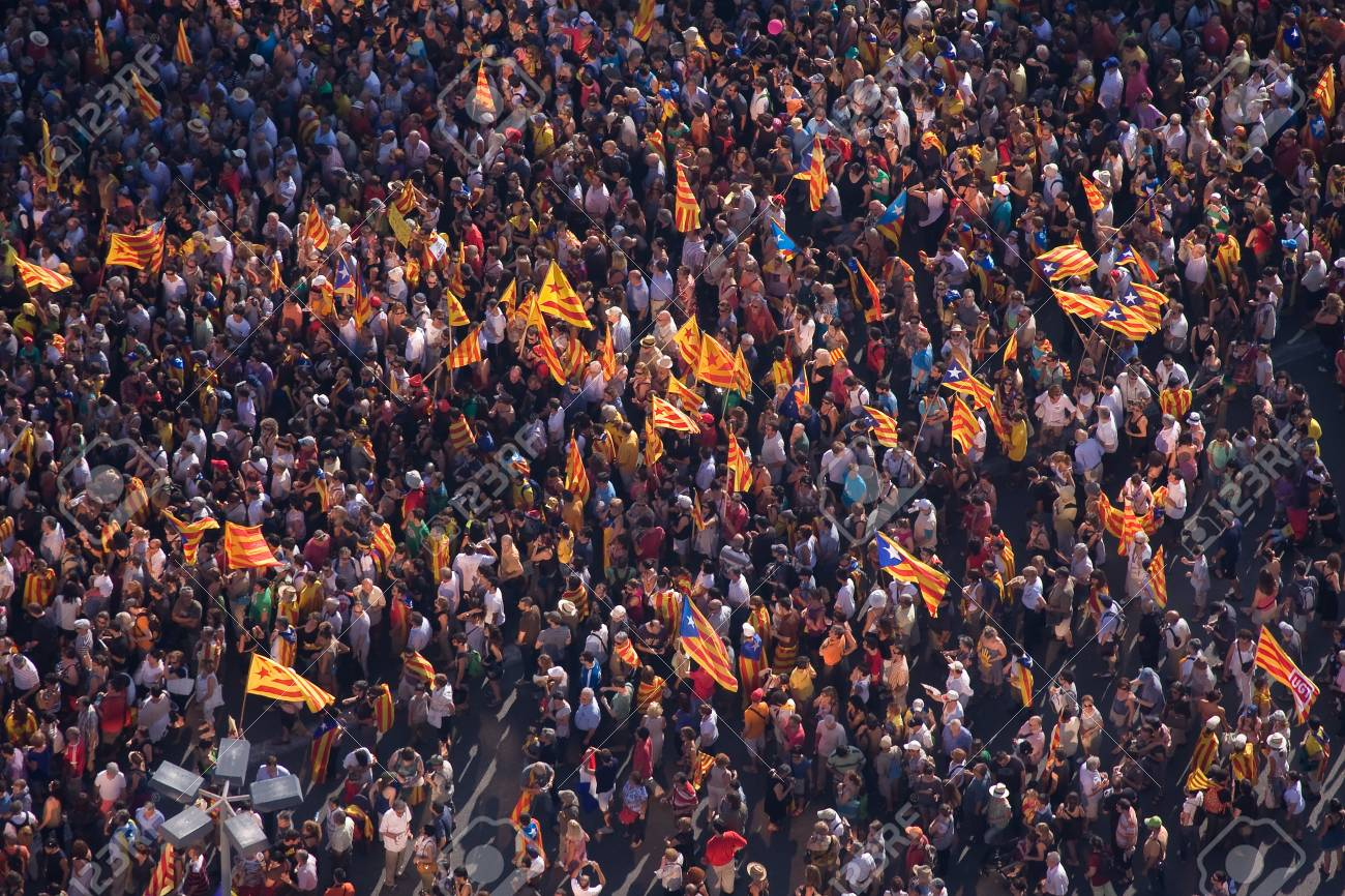 BARCELONA, SPAIN - JULY 10: Up to a million people converge on Barcelona to join a rally demanding independence for Catalonia, on July 10, 2010, in Barcelona, Spain Stock Photo - 15156582