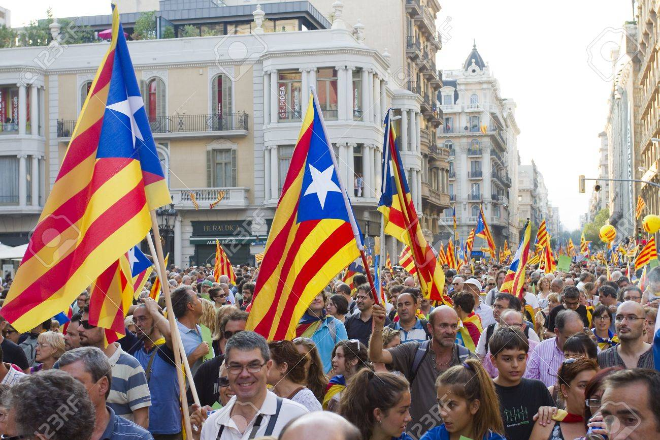 BARCELONA, SPAIN - SEPTEMBER 11: Up to a million people converge on Barcelona to join a rally demanding independence for Catalonia, on September 11, 2012, in Barcelona, Spain Stock Photo - 15156610
