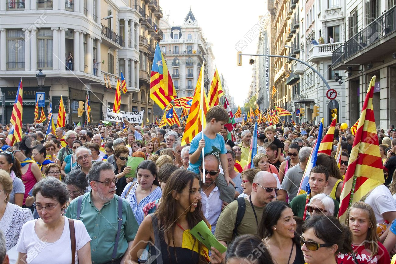 Barcelona Spain September 11 Up To A Million People Converge Stock Photo Picture And Royalty Free Image Image 15156618