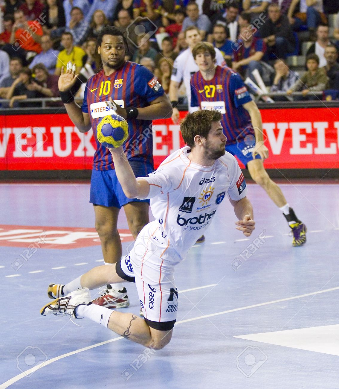 913eca915b1 BARCELONA - MARCH 25  Nikola Karabatic in action during EHF Champions  League match between FC