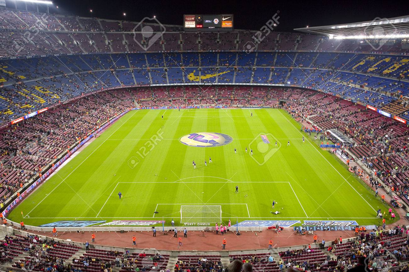 Stock Photo - View of Camp Nou stadium by night before the Spanish League  match between FC Barcelona and Celta de Vigo 6065049fa61