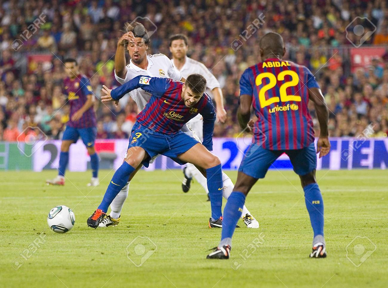 finest selection 898bc 1d441 Gerard Pique of FCB in action at the Spanish Super Cup final match between  FC Barcelona and Real Madrid, 3 - 2, on August 17, 2011 in Camp Nou  stadium, ...