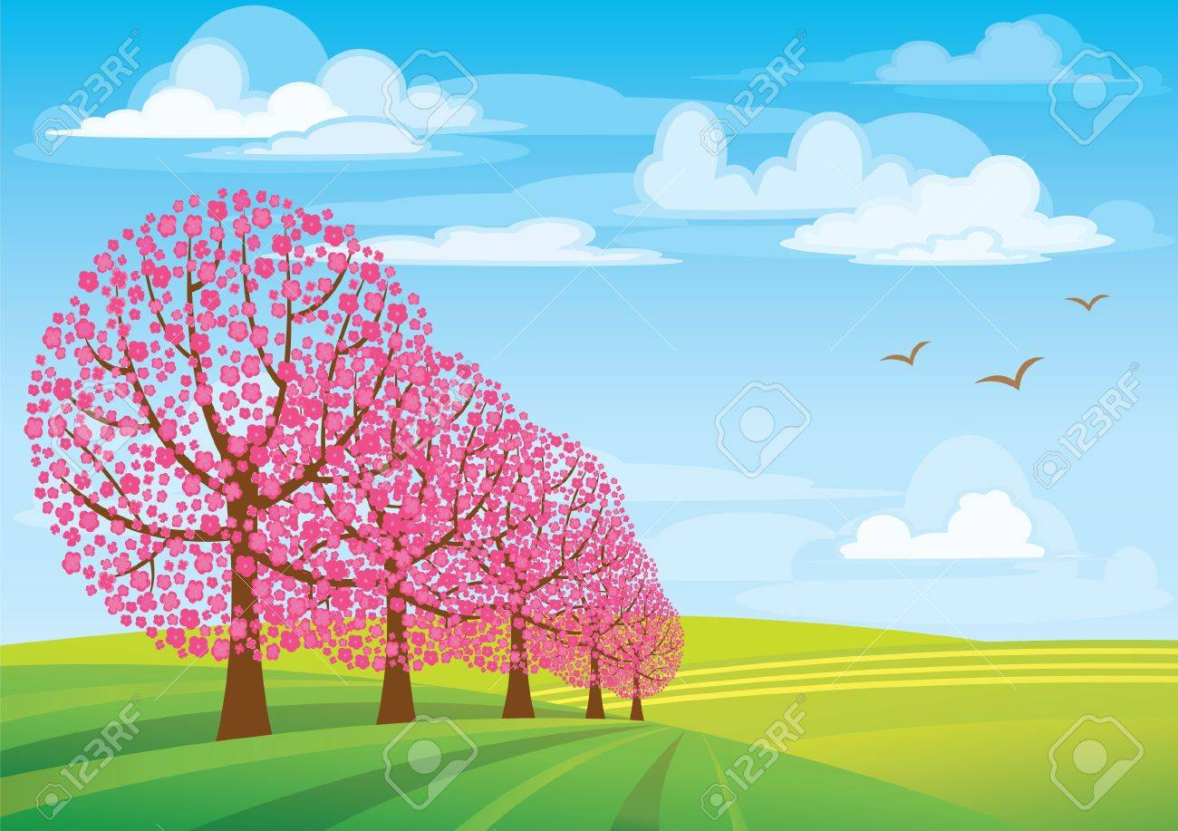 group of pink trees on blue sky and green meadow stock vector - Pink Trees