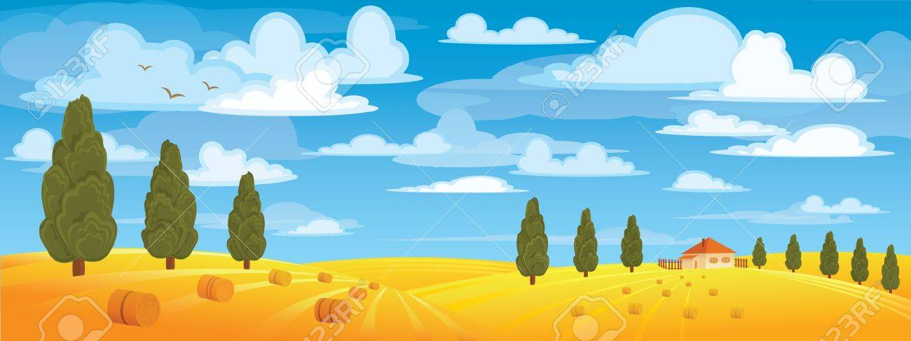 Haystack in yellow meadow on blue sky and green trees Stock Vector - 9660410