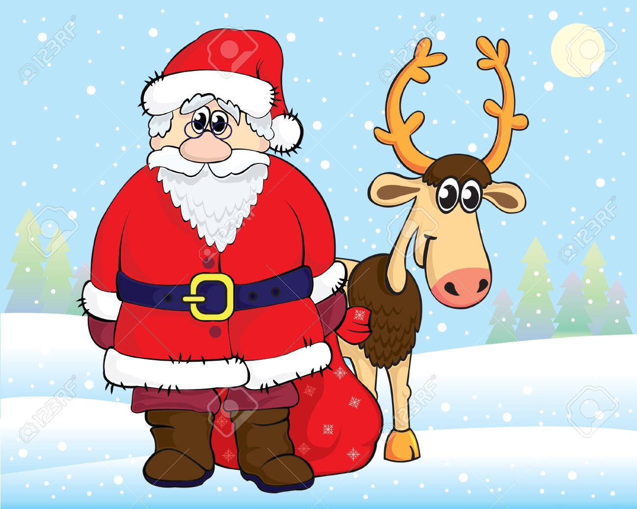 funny cartoon santa claus and reindeer on snow background royalty