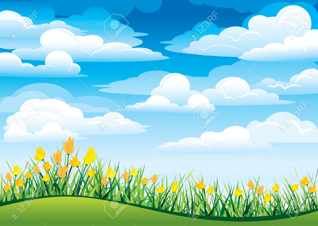 green grass blue sky flowers heart shaped vector yellow flowers and green grass on blue sky clouds flowers and green grass on blue sky clouds royalty free