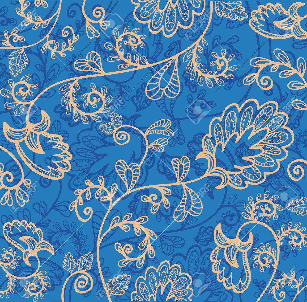 Blaue Tapete Mit Schönen Abstrakte Blumen Lizenzfrei Nutzbare
