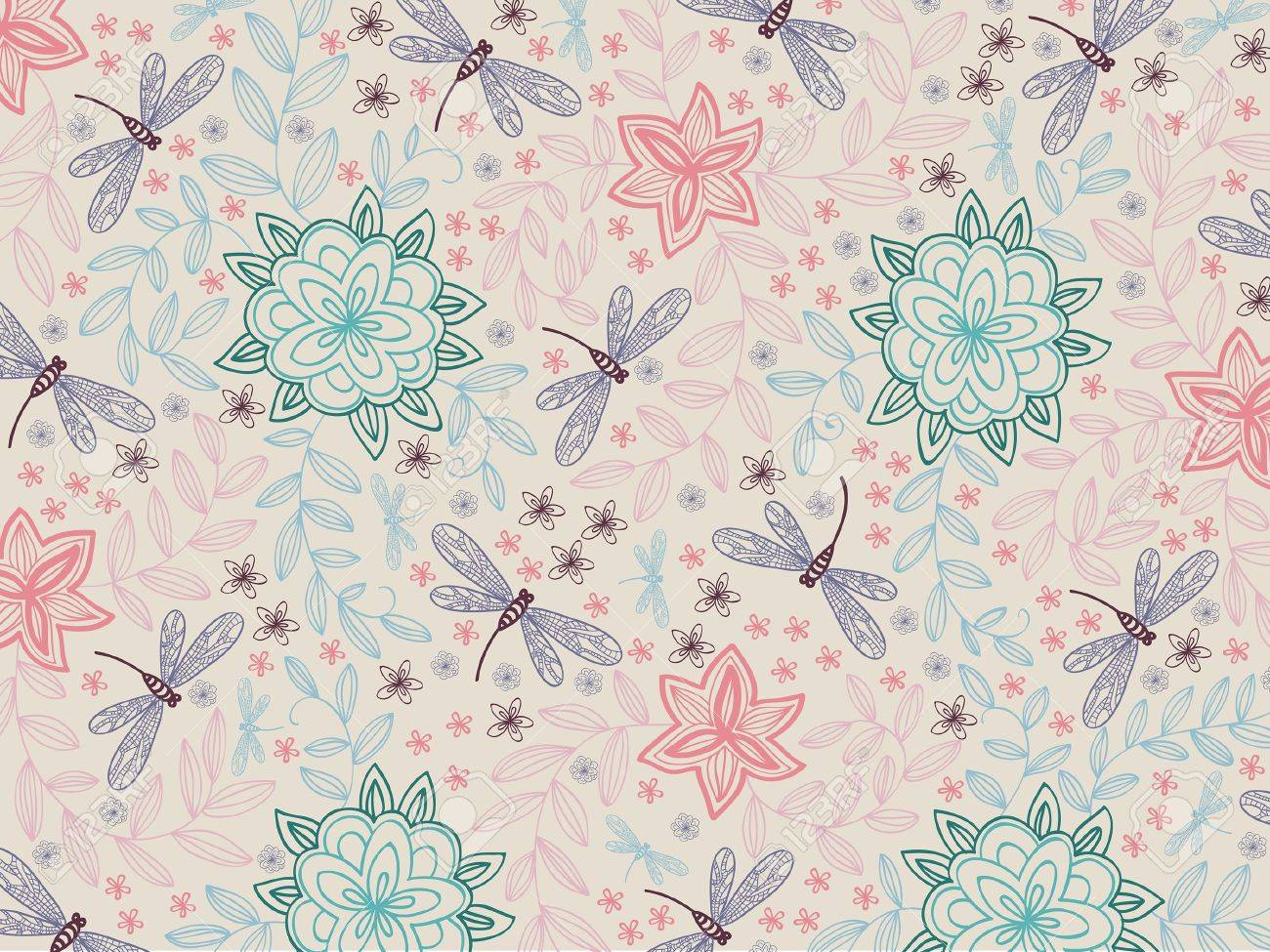 wallpaper with blossom flowers and dragonfly on a beige background Stock Vector - 10425784