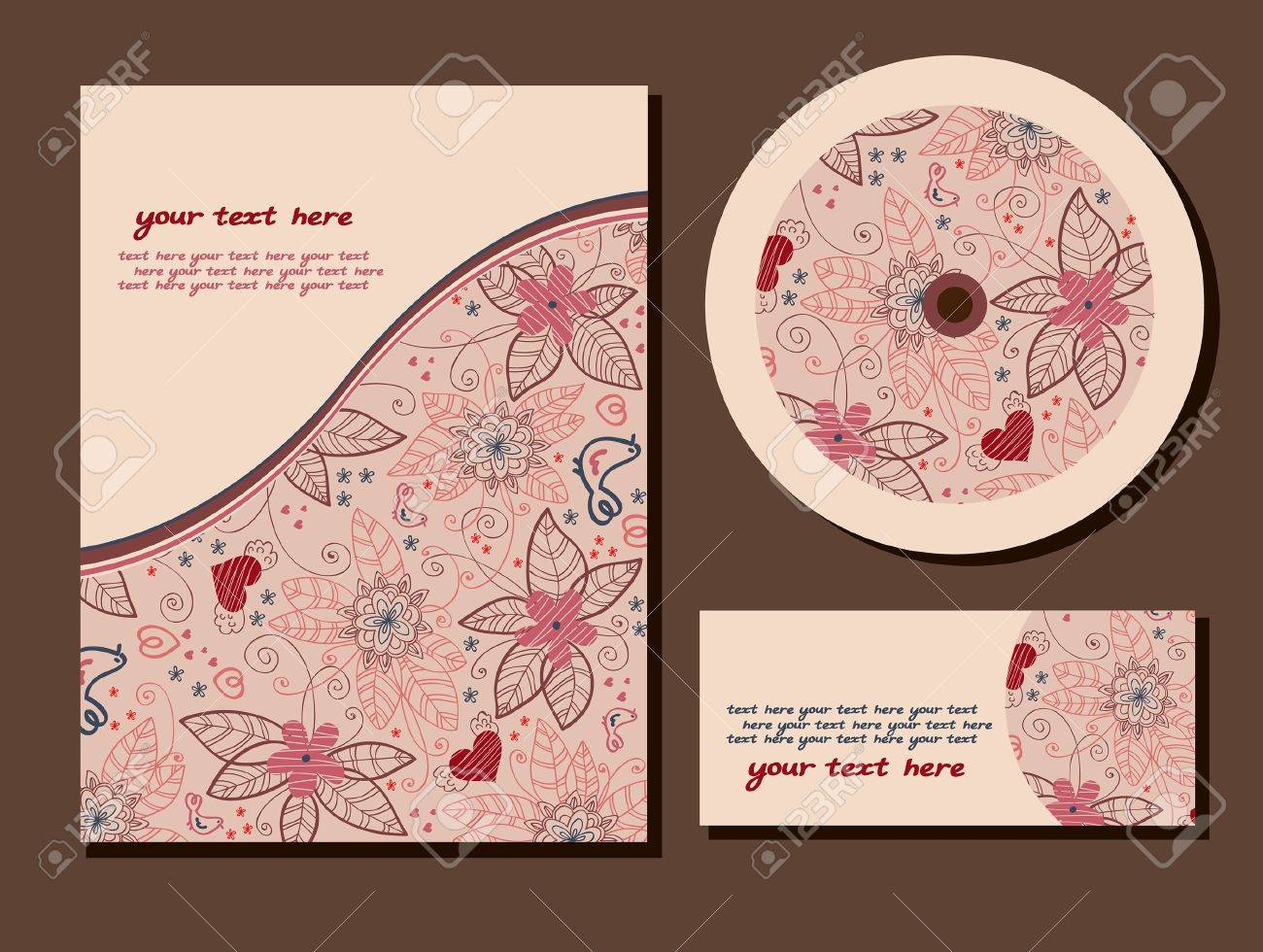 Group Of Summer Business Card On A Beige Background Royalty Free ...
