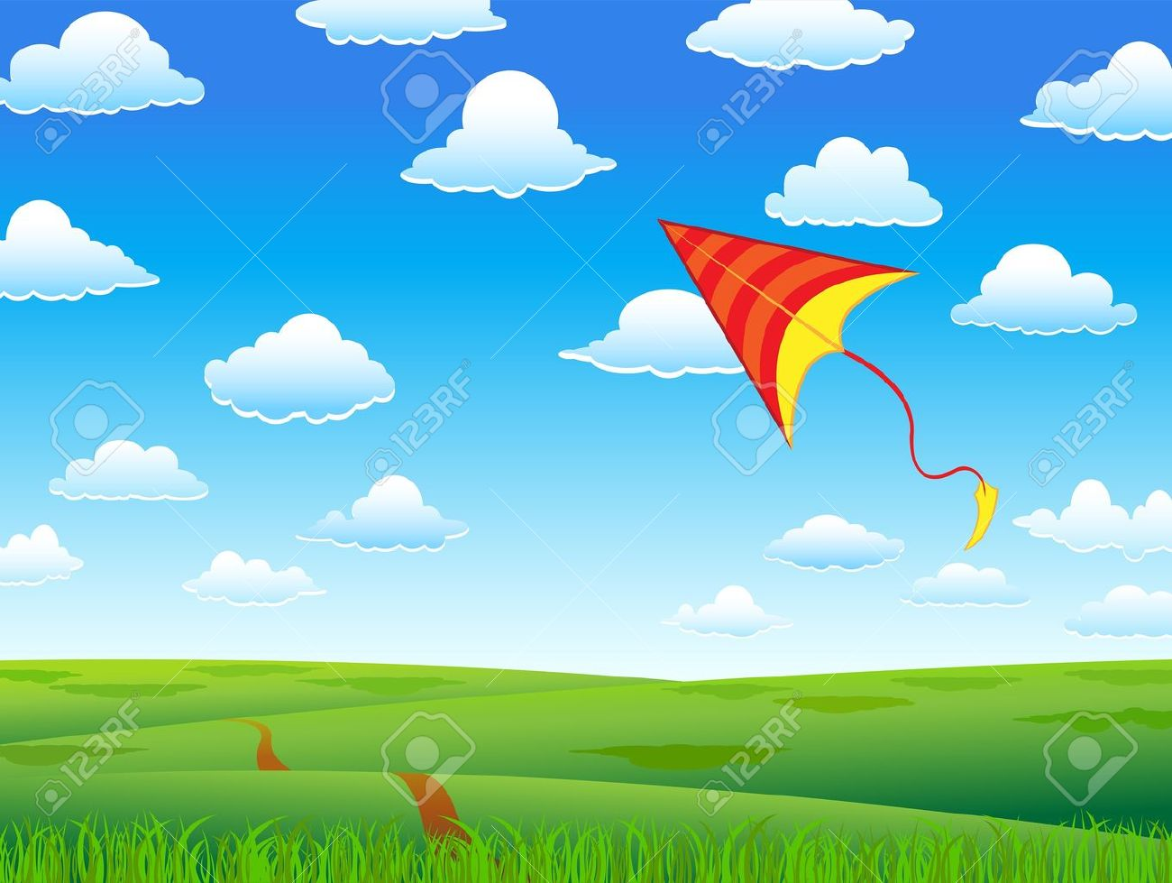 Kite Background with red kite and clouds
