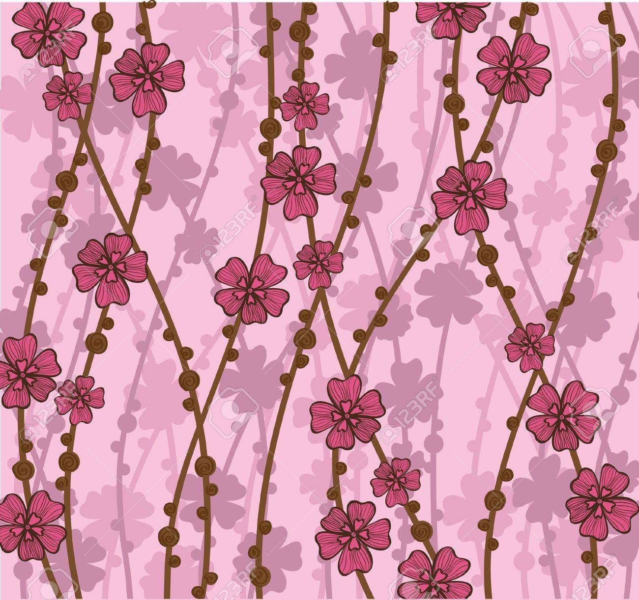 Pink Wallpaper With Beautiful Abstract Japanese Flowers Royalty