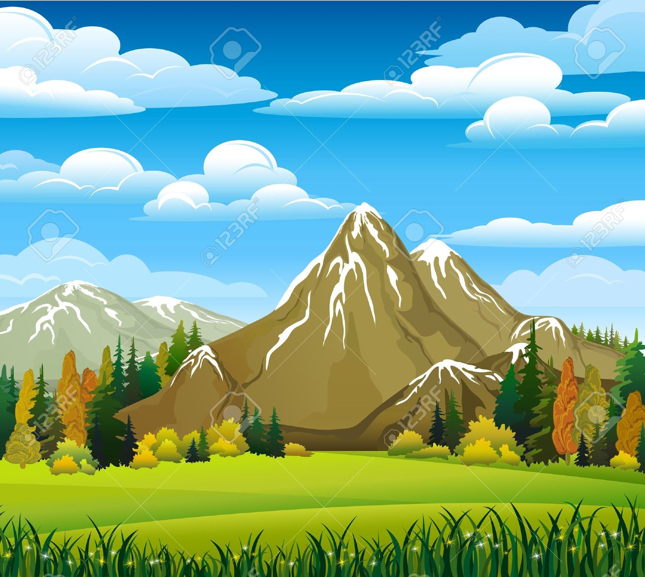 Autumn landscape with meadow, forest and mountains on a cloudy sky background - 10673808
