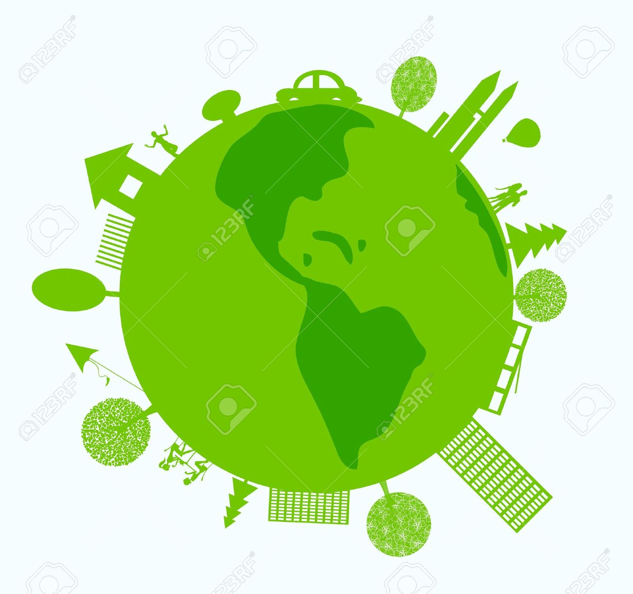 Green World With Eco Friendly Life Royalty Free Cliparts Vectors