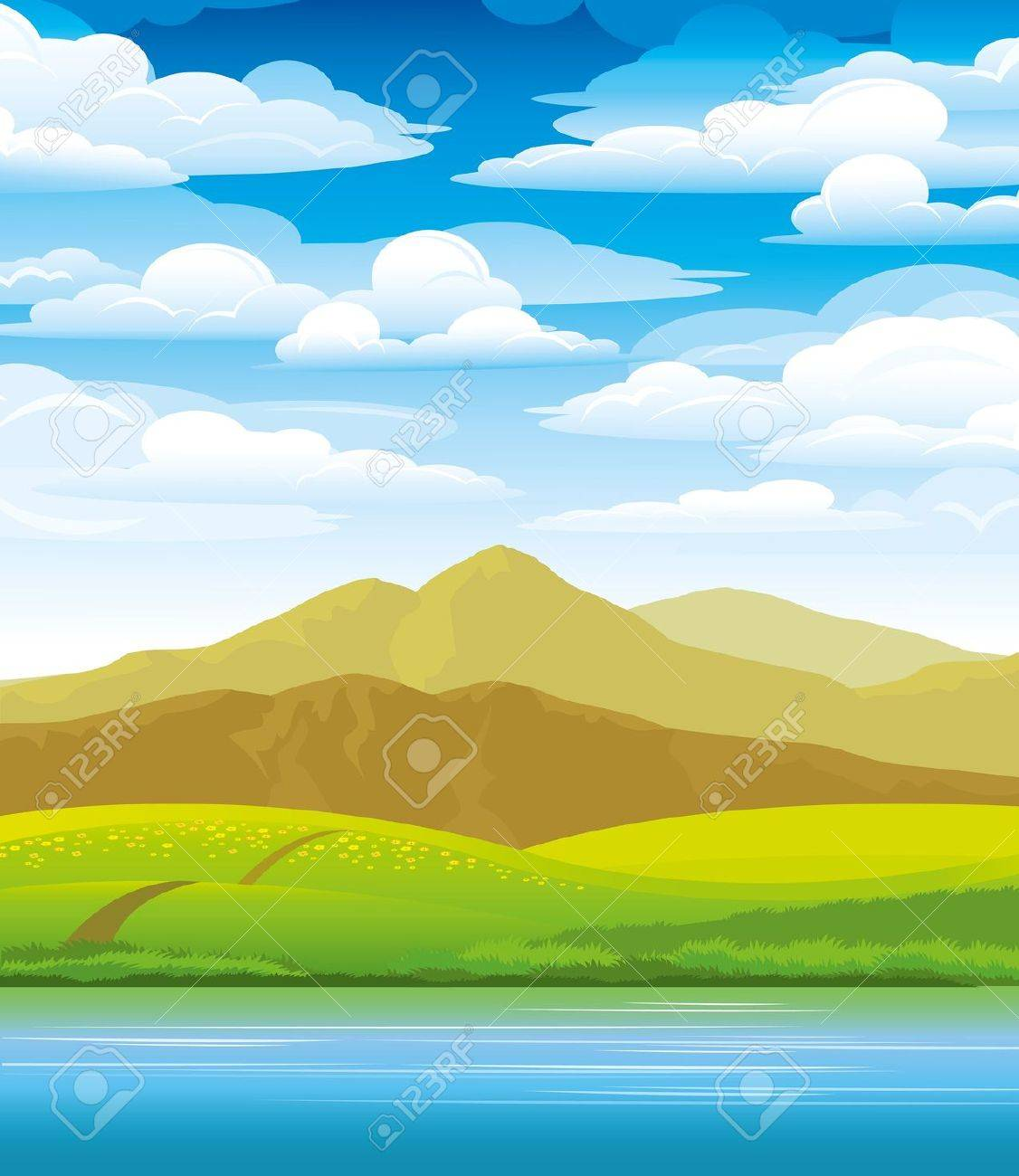 Green landscape with meadow, mountains and river on a cloudy sky background Stock Vector - 10800817