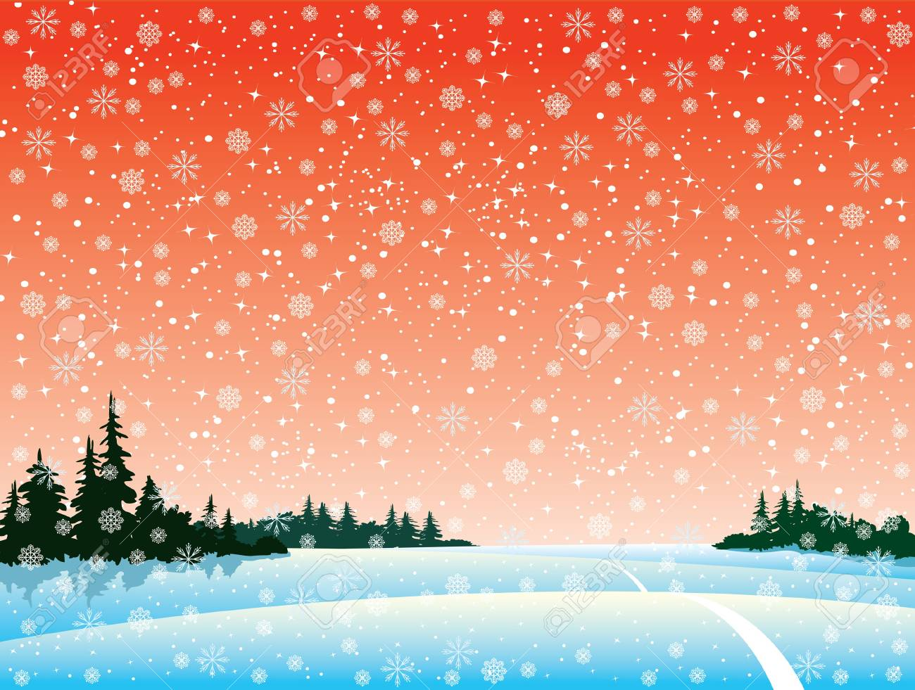 Vector winter landscape with forest and snowfall Stock Vector - 10924005
