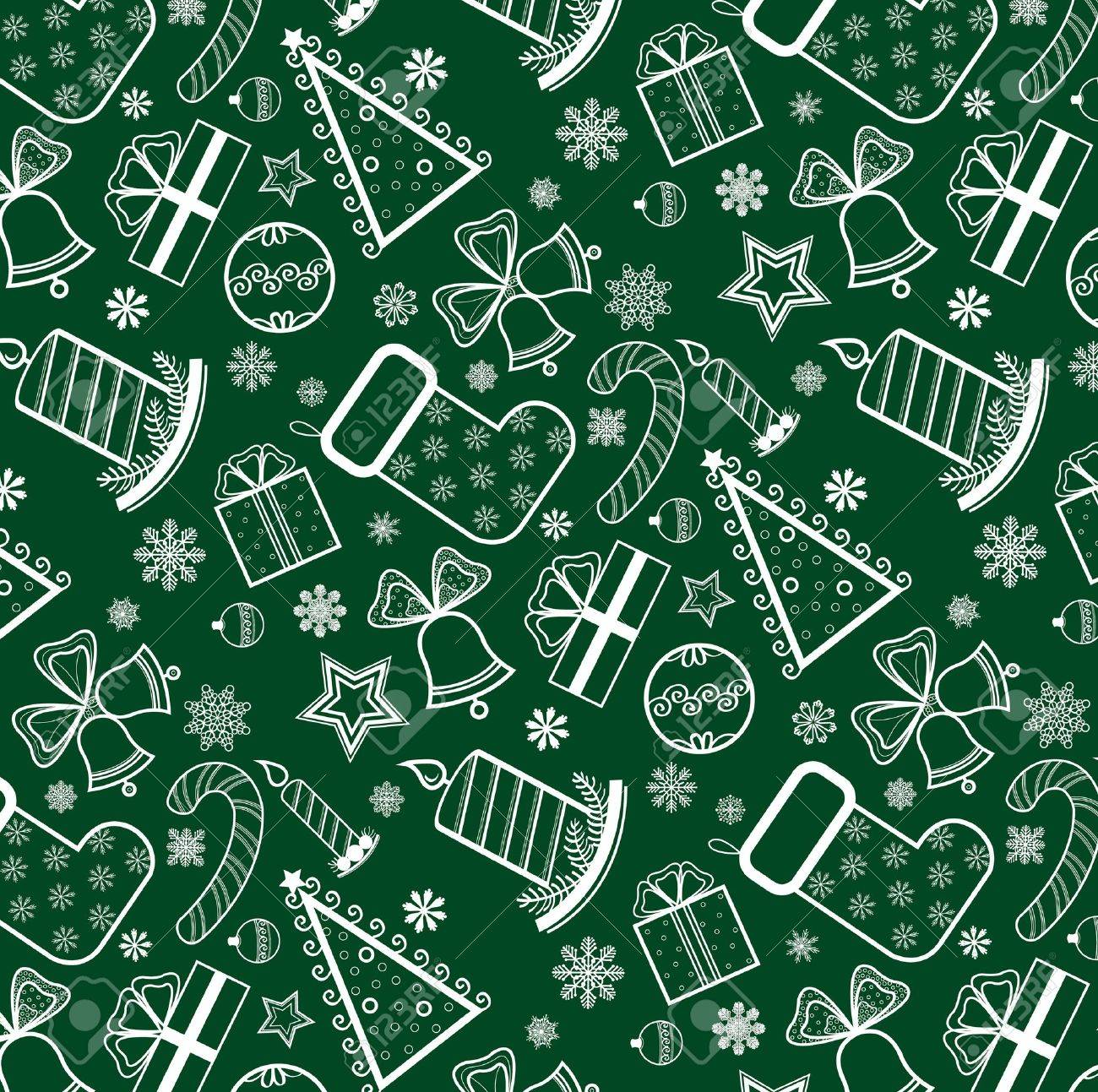 Green Christmas wallpaper with new year theme Stock Vector - 11209965