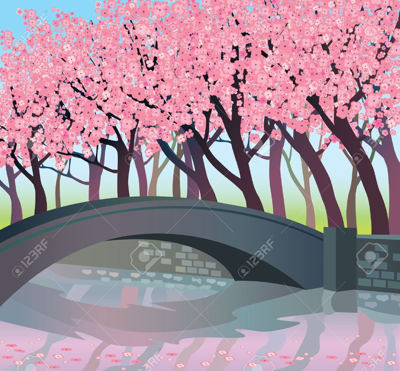 Landscape With Pink Japanese Trees And Bridge Royalty Free Cliparts