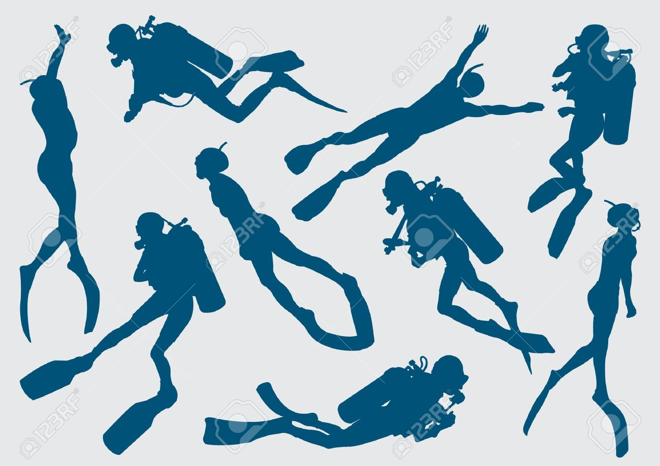 Set silhouette of diver and freediver - 12370256