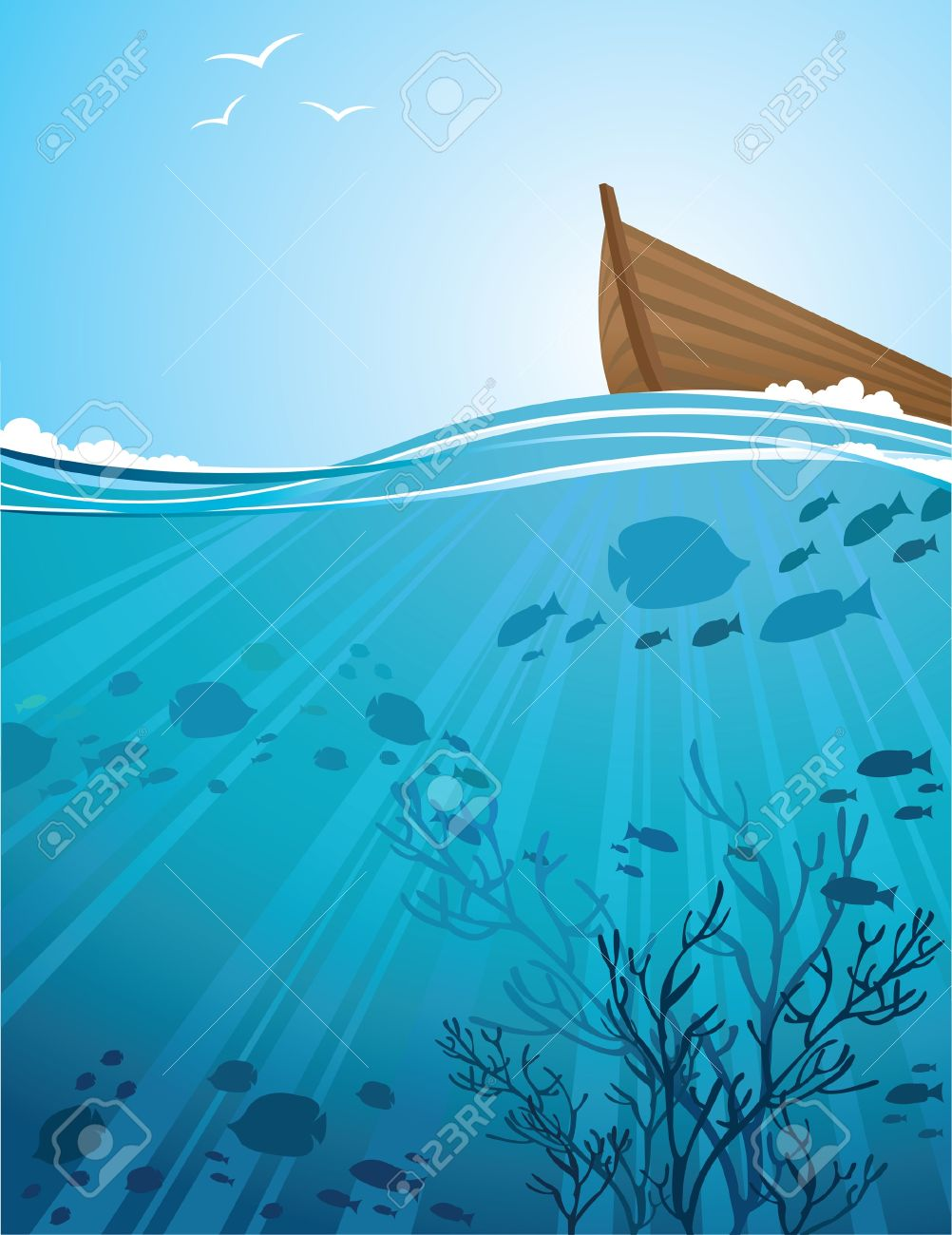 Silhouettes of fish and sun rays in a sea and boat Stock Vector - 12370257