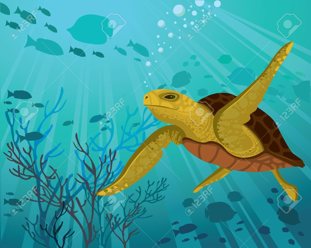 Turtle on a silhouettes of fish and sun rays in a sea Stock Vector - 12370259
