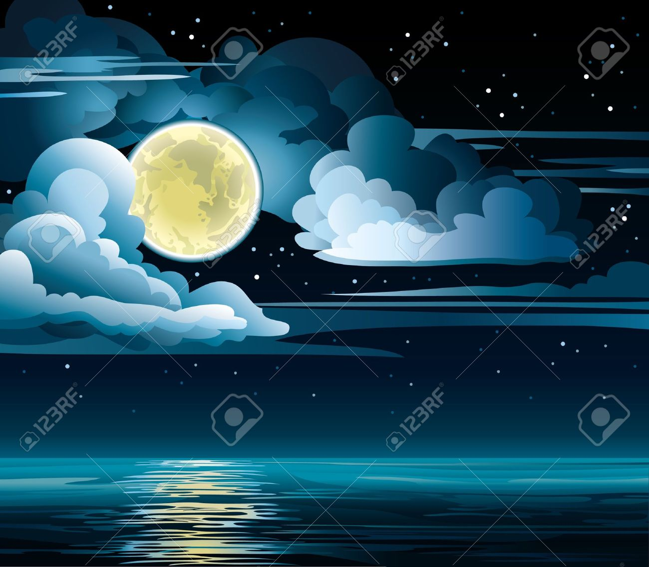 Vector night cloudy sky with stars, yellow moon and calm sea - 12816930