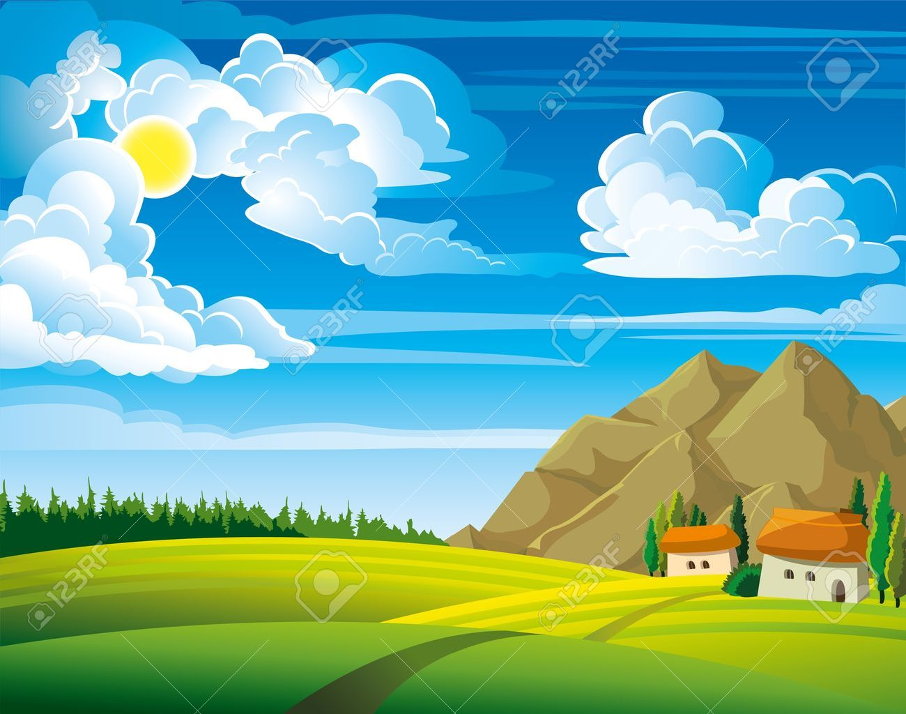 Summer green landscape with trees and houses on a blue cloudy sky background Stock Vector - 12816929