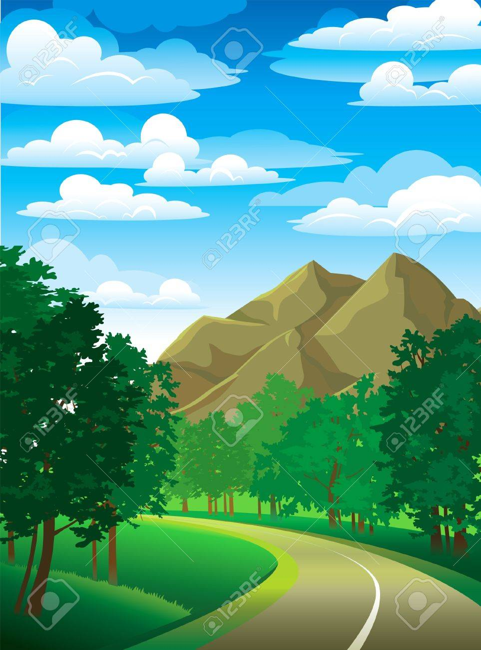 Summer green landscape with road, trees and mountain on a cloudy sky Stock Vector - 12942101
