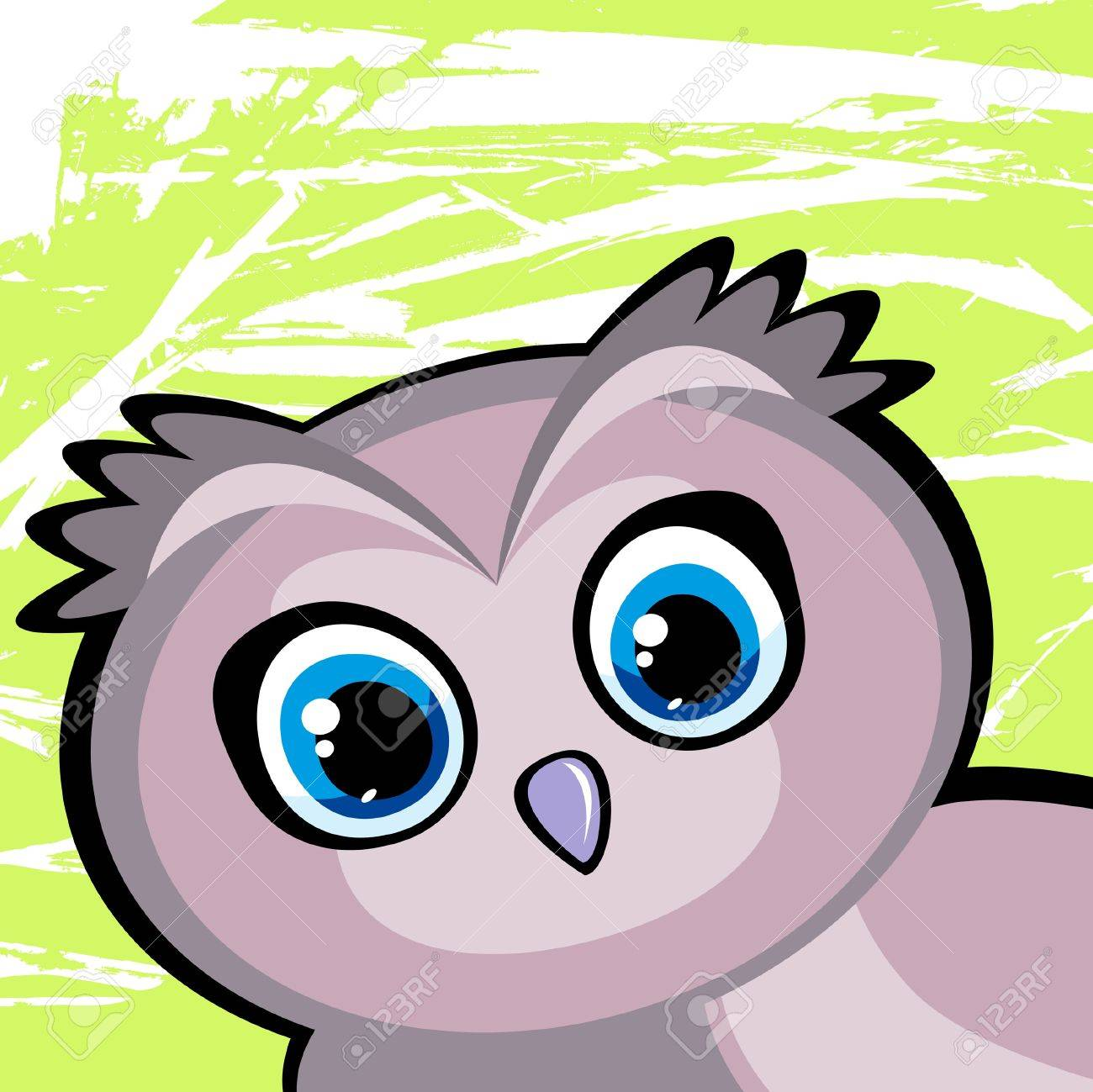 Cartoon funny owl with big blue eyes on a green background Stock Vector - 13046086