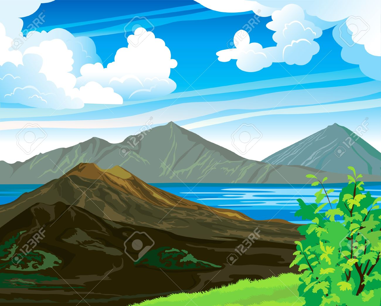 Summer landscape with volcano Batur and blue lake on a cloudy sky. Indonesia, Bali. Stock Vector - 13283162