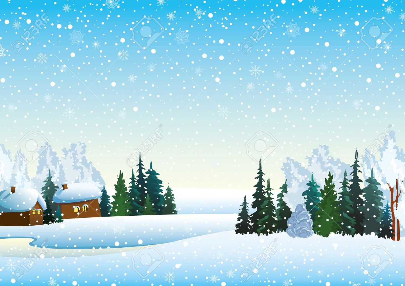 Winter landscape with houses, forest and frozen lake - 14255588