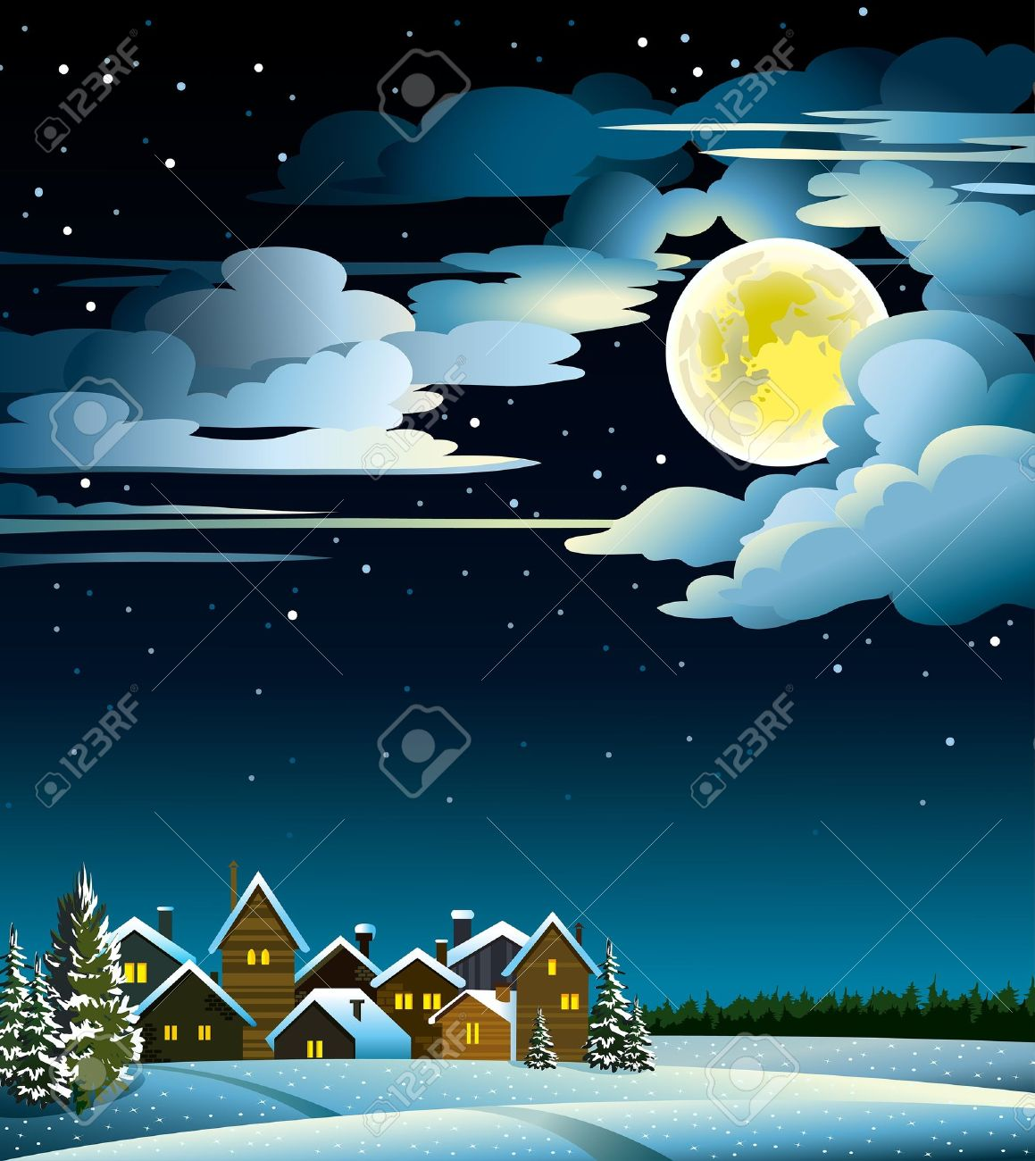 Winter landscape with snow houses, forest and fool moon Stock Vector - 15232465