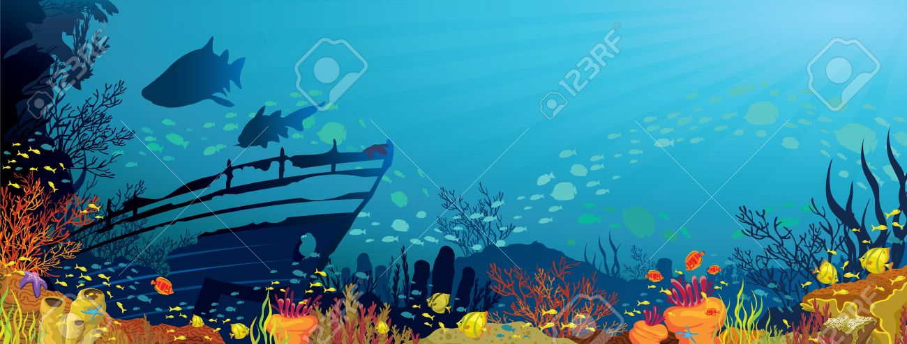 Colored coral reef with fish, sharks and silhouette of sunken ship on blue sea background Stock Vector - 15348176