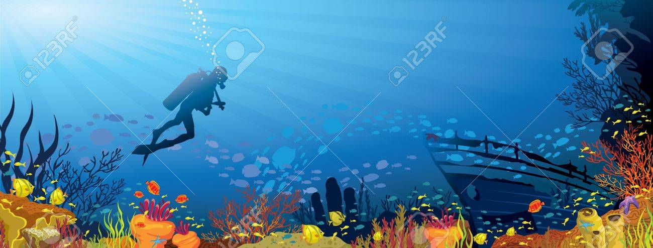 Colored coral reef with fish and silhouette of diver on blue sea background Stock Vector - 15348171