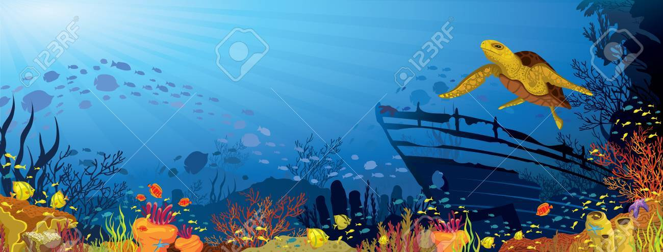 Colored coral reef with silhouette school of fish and yellow turtle on blue sea background Stock Vector - 15348182