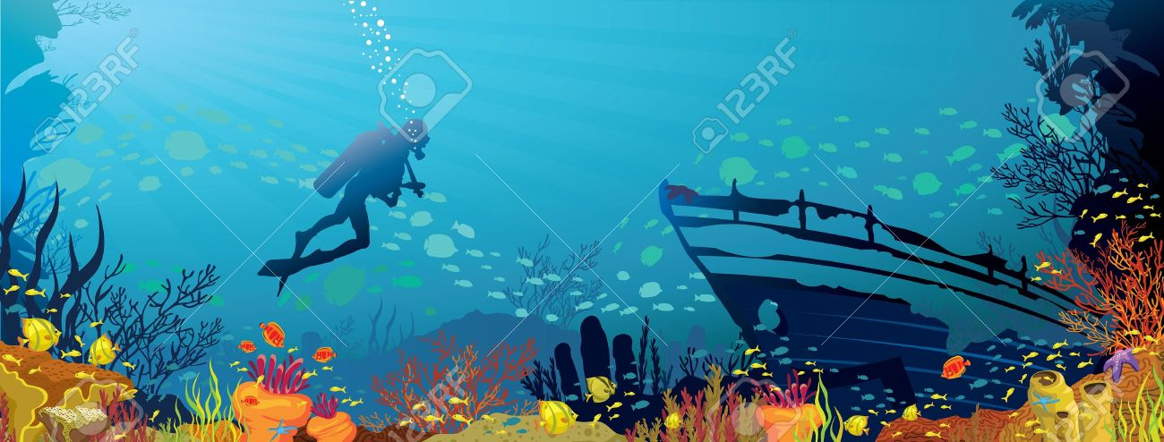 Vector coral reef with fish and silhouette of diver on blue sea background Stock Vector - 15384215