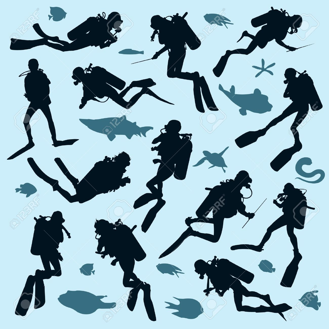 Set of diver silhouettes and fish - 16601159