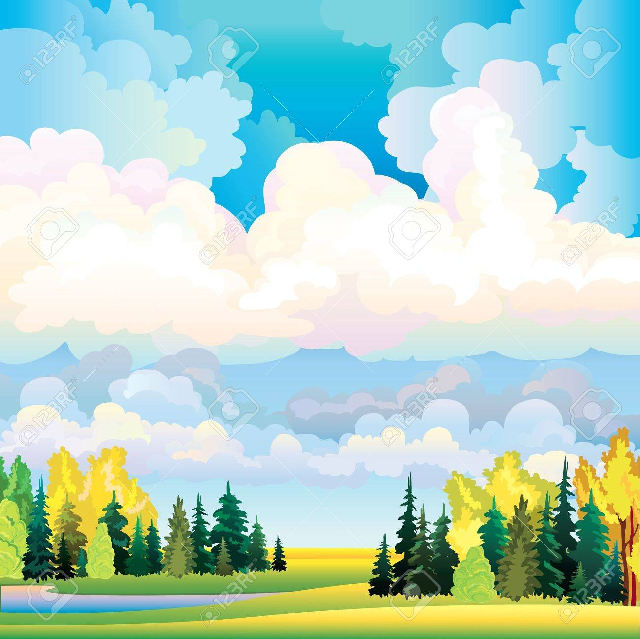 Autumn landscape with group of clouds on a blue sky, lake, yellow trees and green meadow Stock Vector - 16687608