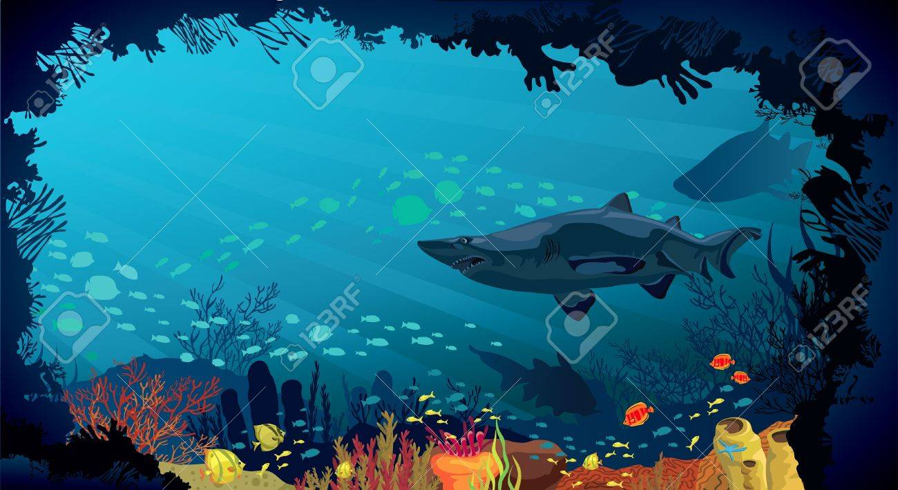 Underwater life - Coral reef with fish and big sharks on a blue sea background Stock Vector - 16712879