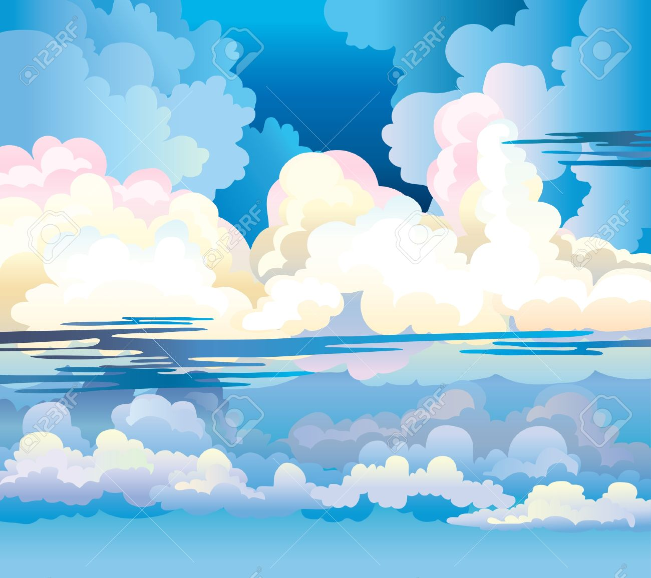 Group of cumulus clouds on a blue sky background Stock Vector - 16822610