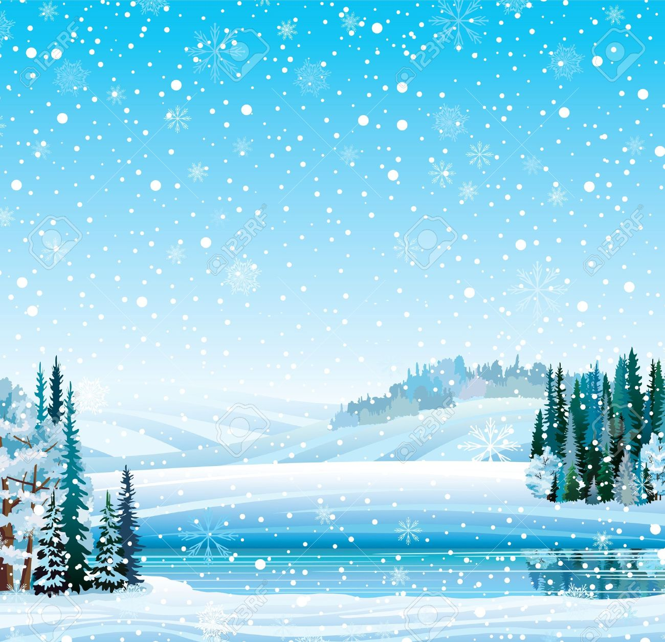 Vector winter landscape with frozen lake, forest, hill and snowfall - 16965862